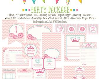 little princess baby shower invitation rustic baby girl shower invitation floral chic invite party package chevron 1351 katiedid designs