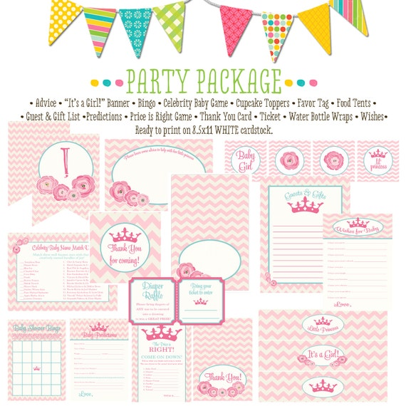little princess baby shower invitation rustic baby girl shower invitation floral chic invite party package chevron 1351 katiedid designs