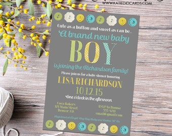 Cute as a button gender reveal invitation couples baby shower neutral boy sprinkle sip see diaper wipes brunch twins   12113 Katiedid Card