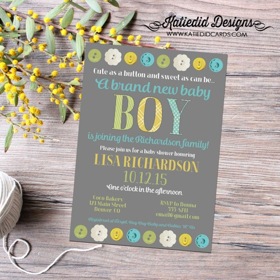 Cute as a button gender reveal invitation couples baby shower neutral boy sprinkle sip see diaper wipes brunch twins | 12113 Katiedid Card