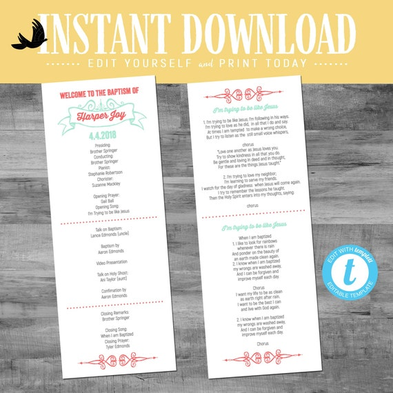 LDS baptism program mormon christening mint coral great to be 8 eight gray CTR girl editable choose editable printable | 701 Katiedid design