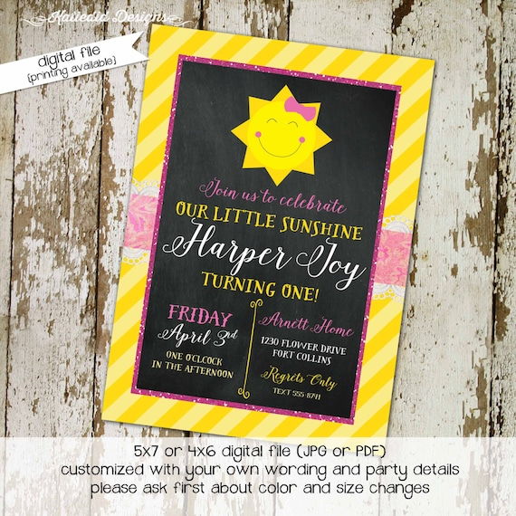 you are my sunshine birthday invitation brighter than the sun first communion baptism christening tea party little girl | 251 katiedid Cards