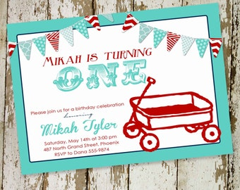 baby boy shower invitation red wagon bunting banner 1st birthday twins patriotic red white blue couples coed sprinkle   253 Katiedid Designs