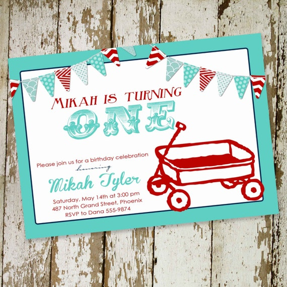 baby boy shower invitation red wagon bunting banner 1st birthday twins patriotic red white blue couples coed sprinkle | 253 Katiedid Designs