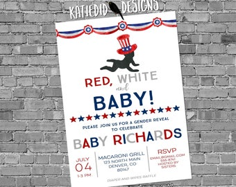 Gender reveal invitation fireworks Patriotic America baby shower red white and due 4th of july birthday BBQ party | 1479 katiedid designs
