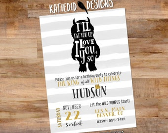 wild one two where the things are birthday invitation couples baby shower coed rumpus king gold black white stripe   296 Katiedid Designs