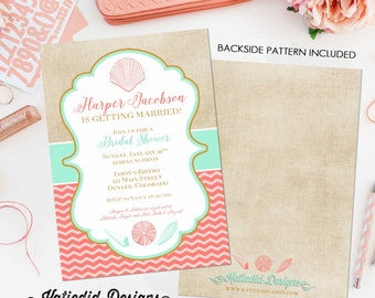 brunch bubbly bridal shower invitation couples Beach Mint coral invite I do BBQ engagement party Stock the bar Seashell   314 Katiedid Cards