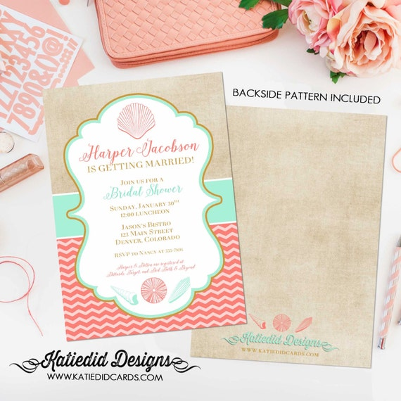 brunch bubbly bridal shower invitation couples Beach Mint coral invite I do BBQ engagement party Stock the bar Seashell | 314 Katiedid Cards