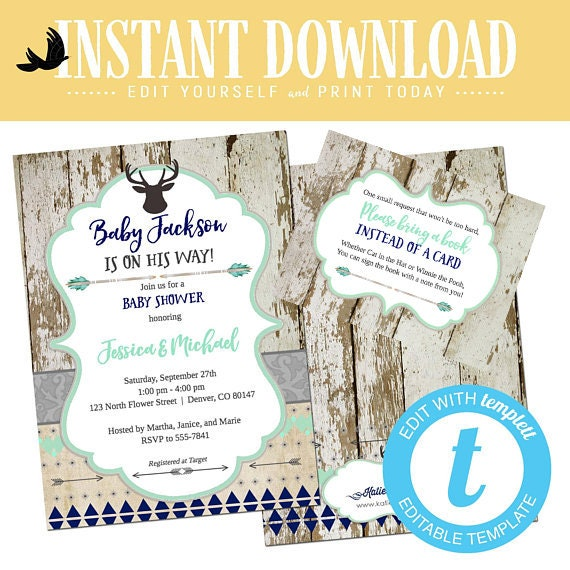 woodland baby boy shower invitation tribal couples rustic sprinkle sip see deer birthday twin mint navy editable template | 1238b Katiedid