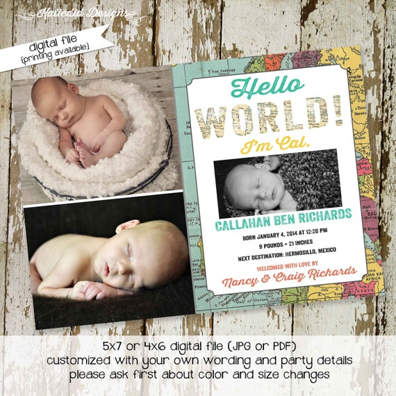 adventure awaits travel theme birth announcement world map ultrasound photo picture pregnancy couples baby shower sip see | 410 Katiedid