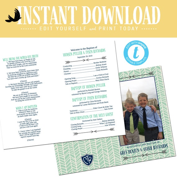 LDS baptism program mormon christening tribal arrow picture photo great to be 8 eight gray mint navy CTR boy editable | 713 Katiedid designs