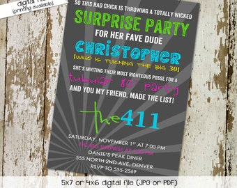 80s party invitation Stock the bar couples shower Totally 30th 40th 50th birthday retirement reunion bridal rehearsal | 202 Katiedid Cards