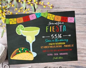 Fiesta dia de los muertos Cinco de mayo tacos margaritas couples shower invitation day of the dead bridal shower party   367 Katiedid Cards