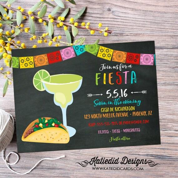 Fiesta dia de los muertos Cinco de mayo tacos margaritas couples shower invitation day of the dead bridal shower party | 367 Katiedid Cards