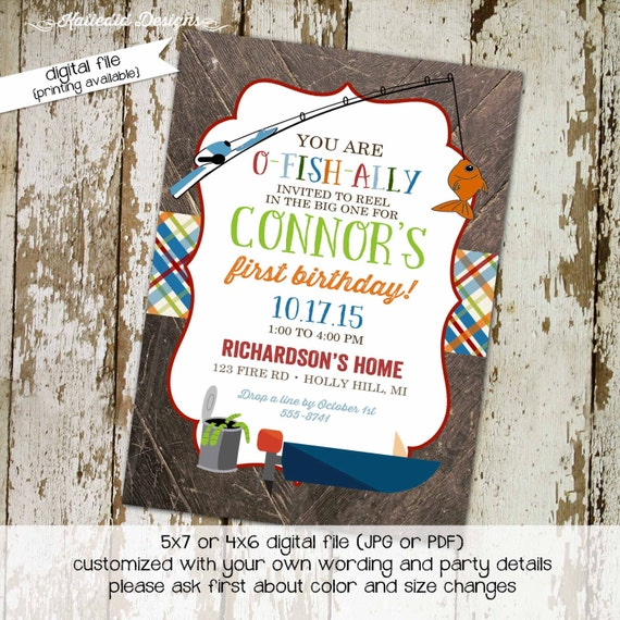 Fishing baby shower invitation Rustic boy birthday Retirement party can of worms boat plaid couples coed diaper wipes twins | 223 katiedid