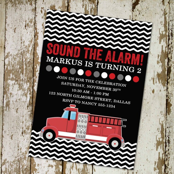 Fire truck birthday invitation boy chevron black red baby shower couples coed sprinkle sip see first 1st firefighter | 207 Katiedid Designs