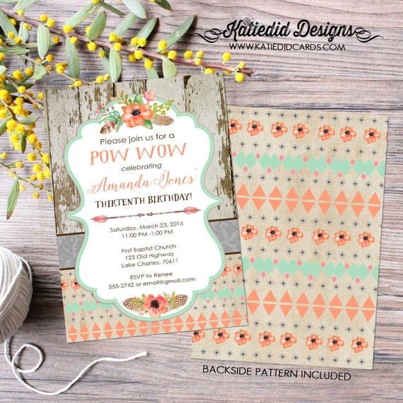 teenage birthday party invitation sleepover boho tribal pow wow baby shower girl pajama mint coral arrows floral | 1445 Katiedid Designs