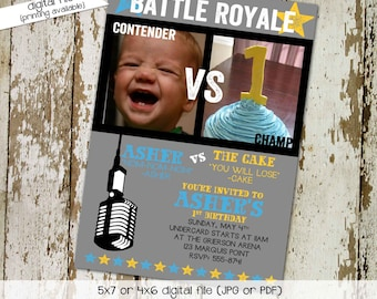 Boxing Birthday invitation party battle royale theme little boy first 1st cake smash vs photo picture gray aqua yellow   282 Katiedid Cards