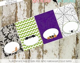 Halloween printable food tent party decorations label witch black cat spiderweb jack-o-latern pumpkin purple green black orange | katiedid