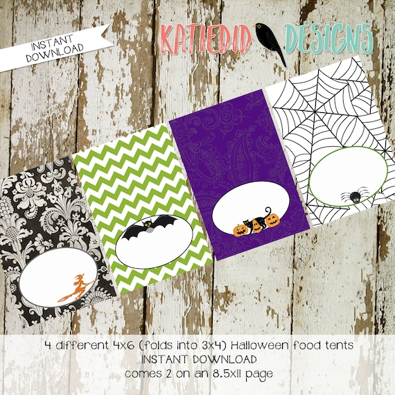 Halloween printable food tent party decorations label witch black cat spiderweb jack-o-latern pumpkin purple green black orange | katiedid