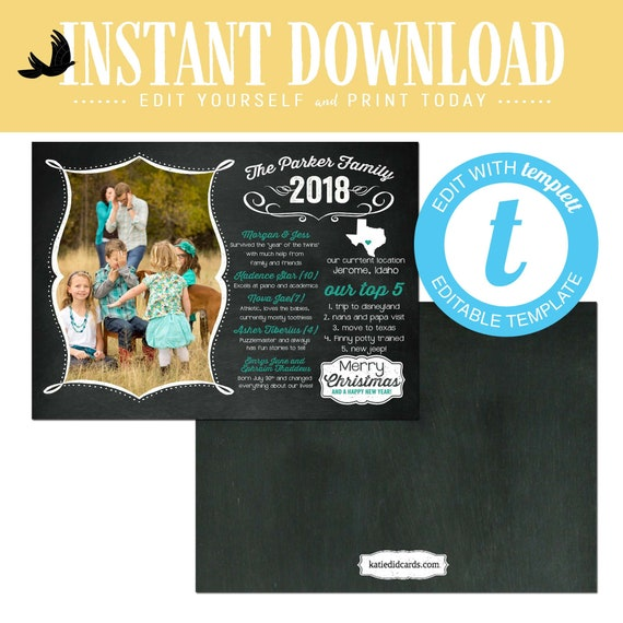 christmas cards with photo, year in review newsletter chalkboard rustic family picture templett happy new year | 852 Katiedid