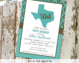 Made in texas couples baby shower invitation coed sprinkle twins sip see brunch paisley teal brown BBQ country western wipes   1227 Katiedid