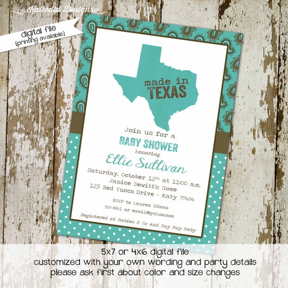 Made in texas couples baby shower invitation coed sprinkle twins sip see brunch paisley teal brown BBQ country western wipes | 1227 Katiedid