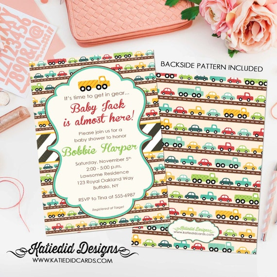 Baby boy shower invitation with car theme, Transportation Birthday Party, Travel | 1264 Katiedid
