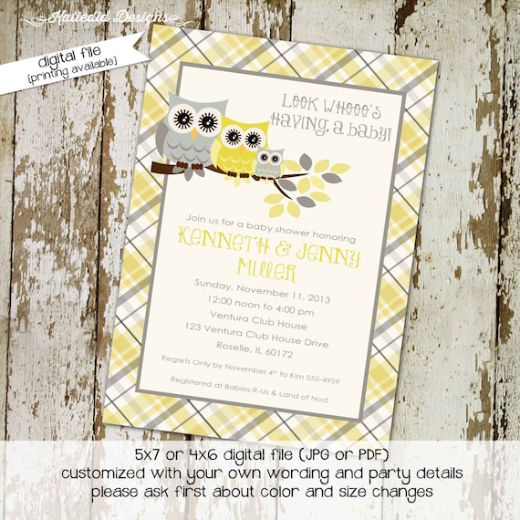 gender reveal invitation owl baby shower couples twins neutral coed sprinkle sip see diaper wipes yellow gray plaid   1446 Katiedid Designs