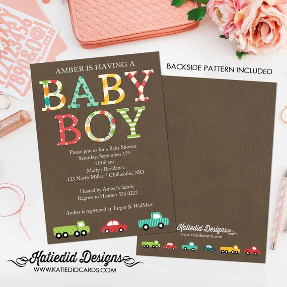 Car baby shower invitation Travel theme little truck couples coed sprinkle sip see diaper wipes birthday oh boy brunch gay | 1229 Katiedid