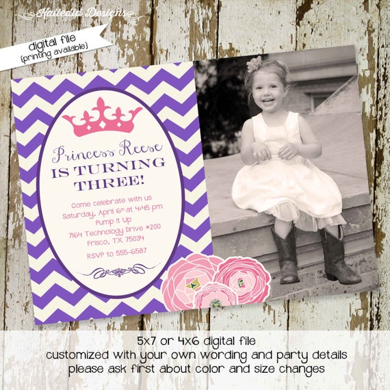 little princess once upon a time birthday invitation ultrasound photo pregnancy announcement pink purple crown tiara | 270 Katiedid Designs