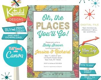 Baby Shower Invitation Gender Neutral, Hot Air Balloon Invitation Travel Theme Party Adventure Awaits | 1294 Katiedid Designs