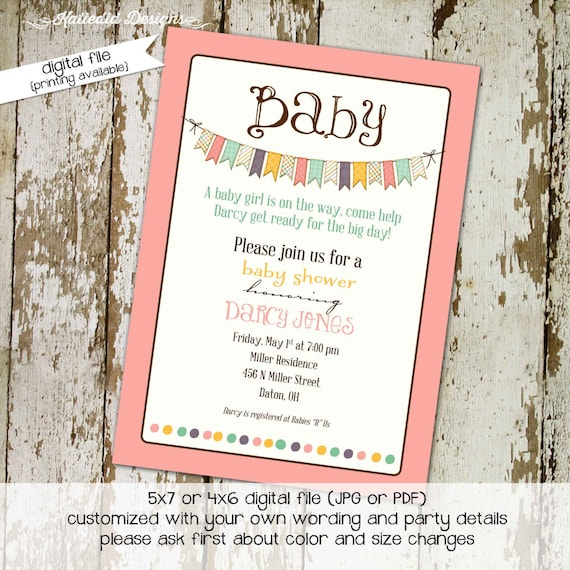 Gender reveal invitation baby shower girl printable couples coed sprinkle sip see baptism bunting banner mint coral | 1334 Katiedid Designs