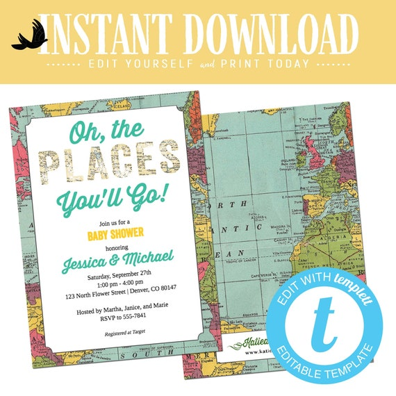 Adventure awaits baby shower invitation Oh places you go birthday World map travel theme gender neutral graduation twin boy | 1294 Katiedid
