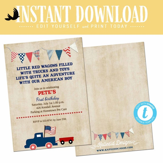 1st birthday invitations boy American Patriotic baby shower rustic vintage truck red wagon couple coed sprinkle editable twin | 238 Katiedid