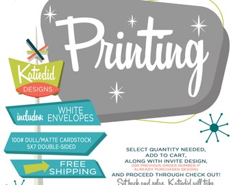 5x7 Printed Invitations, Double-sided Matte Dull Uncoated Cardstock, White Envelopes, FREE SHIPPING