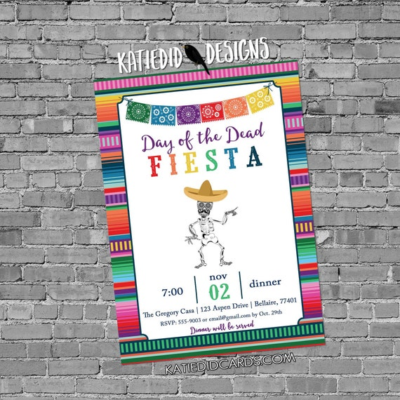 Fiesta Invitation halloween day dead dia muertos skeleton I Do BBQ engagement party fall baby shower sombrero papel picado | 878 Katiedid