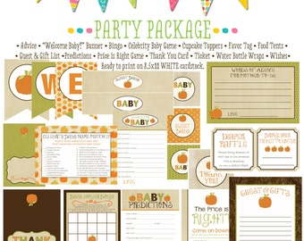 Baby Shower Thank you Cards, Fall Baby Shower Party Package, Pumpkin Harvest Autumn   1416 Katiedid