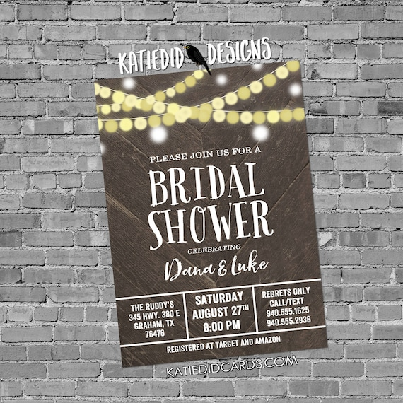rehearsal dinner invitation Couples Shower bridal wood string light I do BBQ engagement party coed gay housewarming | 12127 Katiedid Design