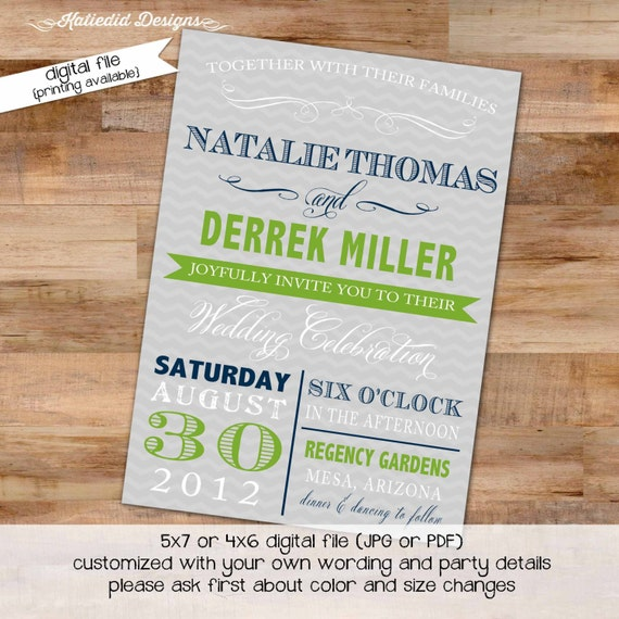 Couples shower Invitation I do BBQ engagement party stock the bar after party navy green gray chevron typography gay | 363 Katiedid designs