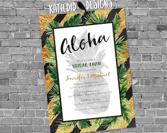 aloha luau Hawaiian invitation pineapple couples shower bridal stock the bar I Do BBQ Engagement party gold rehearsal dinner | 373 Katiedid