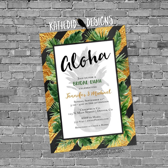 aloha luau Hawaiian invitation pineapple couples shower bridal stock the bar I Do BBQ Engagement party gold rehearsal dinner | 373 Katiedid