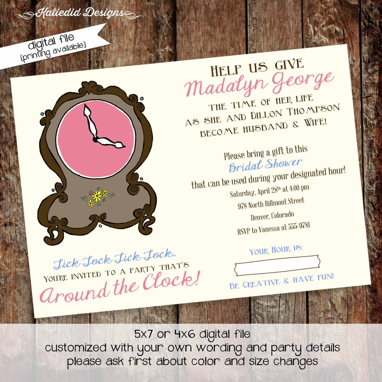 Couples shower Invitation around the clock theme bridal baby ...