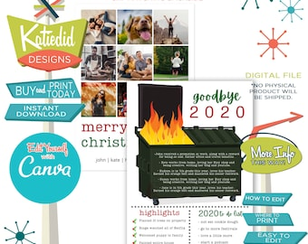 Year in Review Christmas Card, Funny Holiday Cards with Photos, Dumpster Fire of a Year | 833 Katiedid Designs