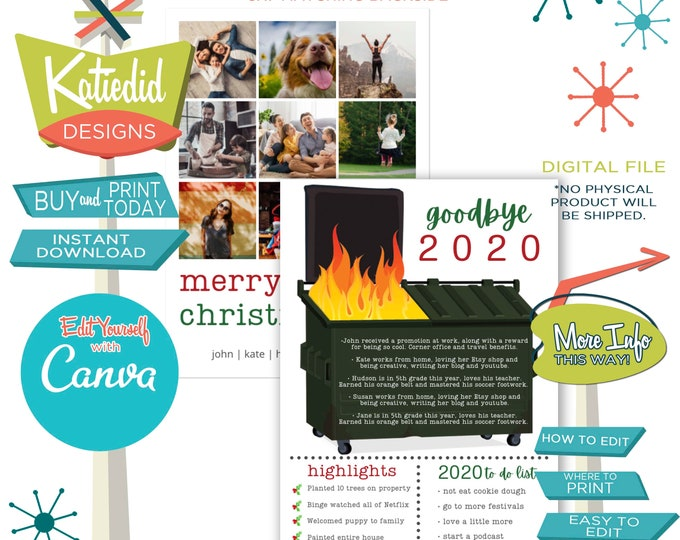 Featured listing image: Year in Review Christmas Card, Funny Holiday Cards with Photos, Dumpster Fire of a Year | 833 Katiedid Designs