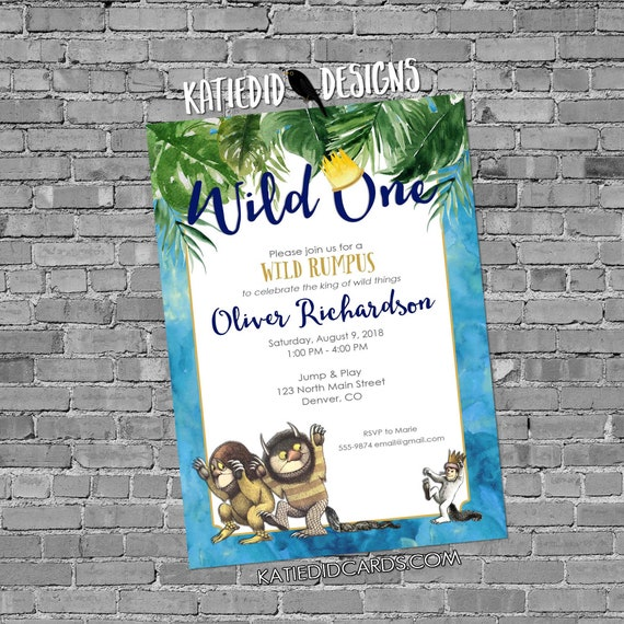 wild one two where the things are tropical palm fronds birthday invitation boy rumpus couples baby shower king crown | 2011b Katiedid Cards