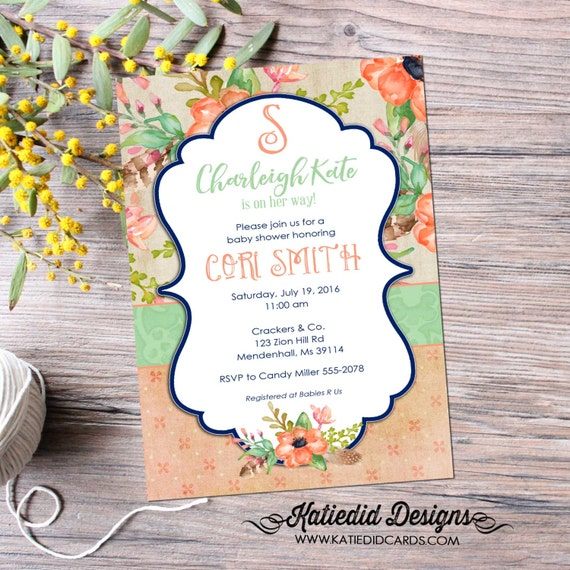 monogram baby shower invitation boho chic floral mimosas brunch bubbly bridal shower mint coral navy couples coed | 1463 Katiedid Designs