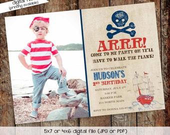 pirate birthday invitation picture ultrasound photo rustic skull bones ship baby boy shower birth announcement baptism   219 Katiedid Design