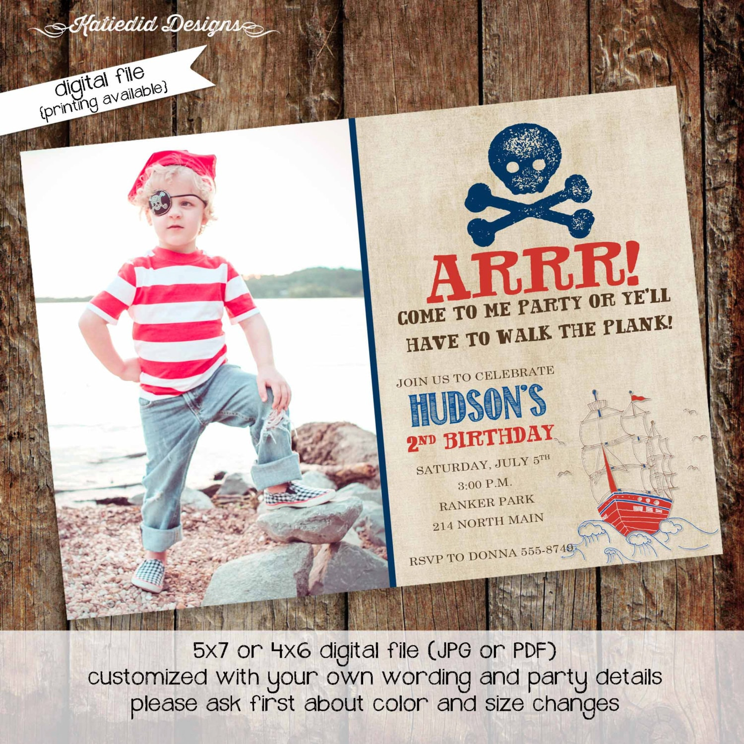 pirate birthday invitation picture ultrasound photo rustic skull ...