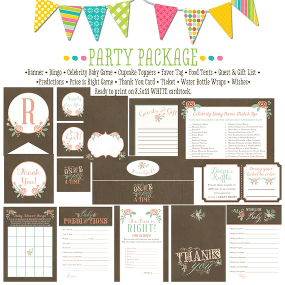 storybook surprise gender reveal once upon a time mint coral invite baby shower party package gender reveal party game 1379 Katiedid Designs